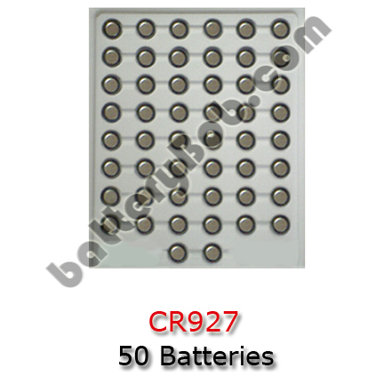 A Tray of 50 CR927 Lithium Coin Cell Batteries - CR927 - 3 Volt 30 mAh
