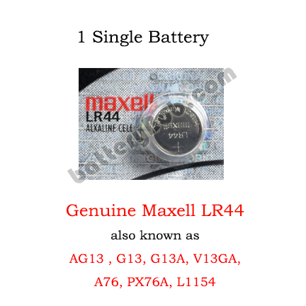 Maxell LR44 (Replaces AG13, GA13, G13-A, V13GA) - 1 Single Maxell Battery
